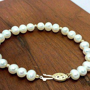 14K Yellow Gold Beaded 7.5mm White Pearl Bracelet